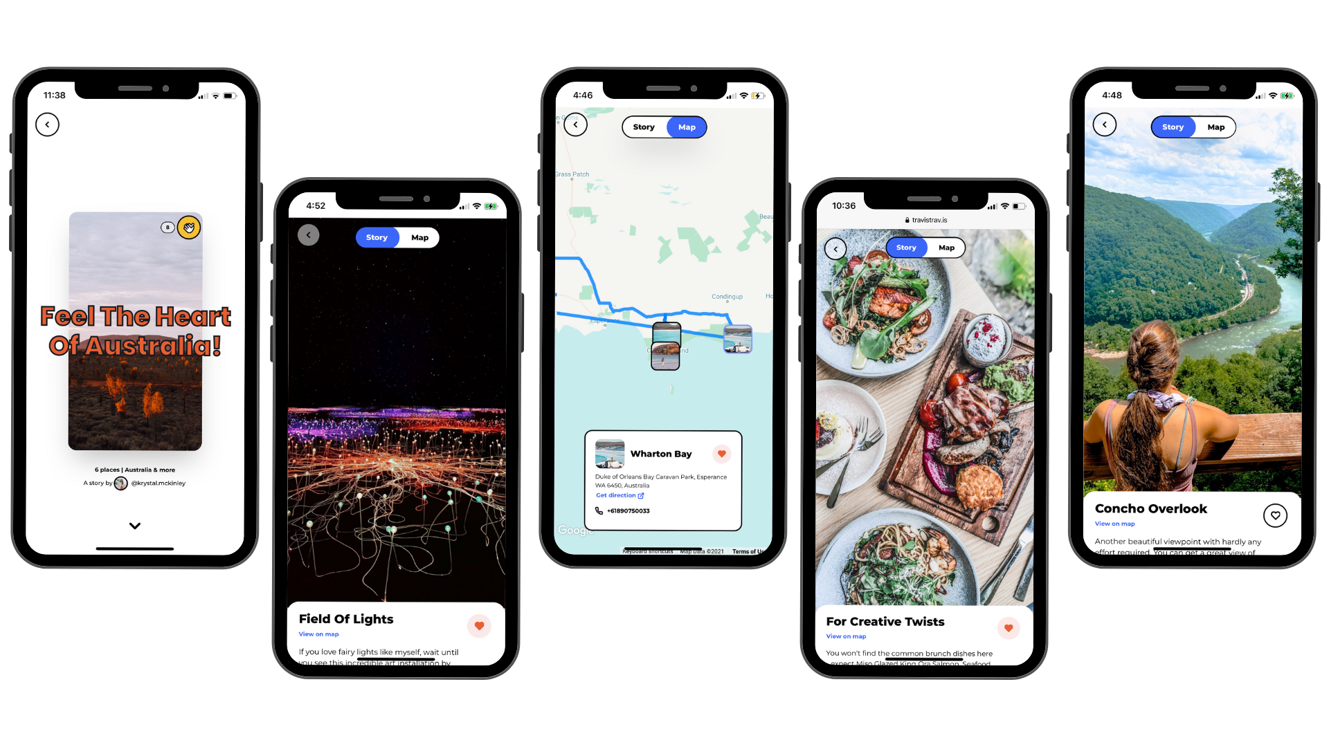 Mobile screens of travel Stories on Travis