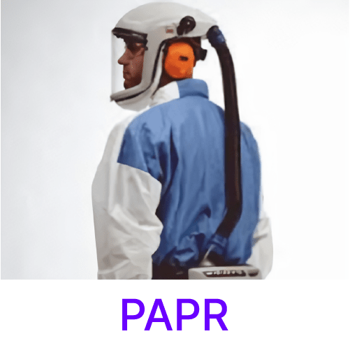 Photo of powered air-purifying respirator suit