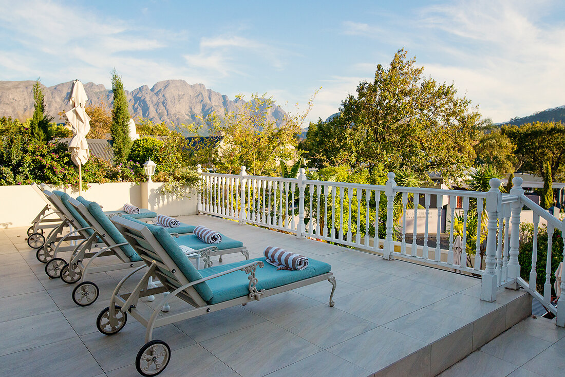 The mountain view from the sundeck at The Last Word Franschhoek.