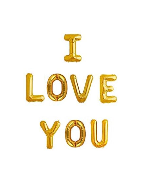 I LOVE YOU Alphabet Letters Foil Balloons Set