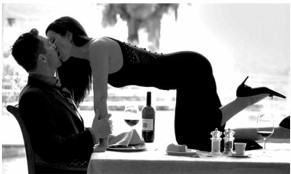 Woman on table kissing man For Better Love FBL Take Charge & Surrender for Awesome Intimacy Blog