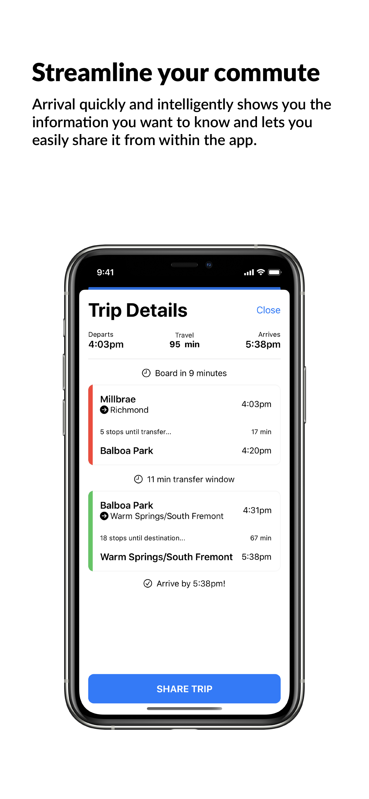 Arrival app screen shot of the trip details screen