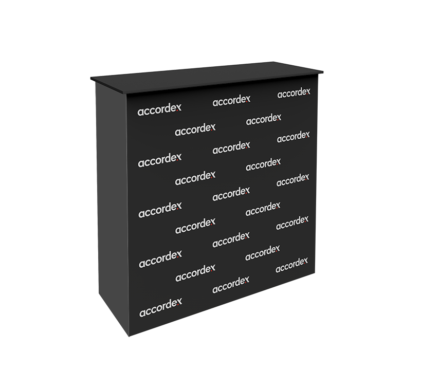 Pop Up Counter is a sleek, collapsible push-fit tension fabric counter that delivers style with minimal effort. The counter pairs a collapsible, white frame and channel bars that hold push-fit SEG fabric graphics.