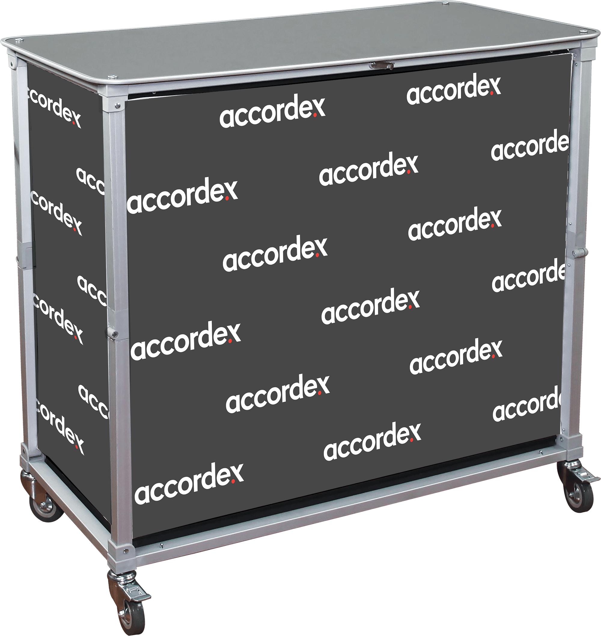 Large portable Popup Bar is an expandable, wheeled sampling and serving station perfect for any event, indoor or outdoor