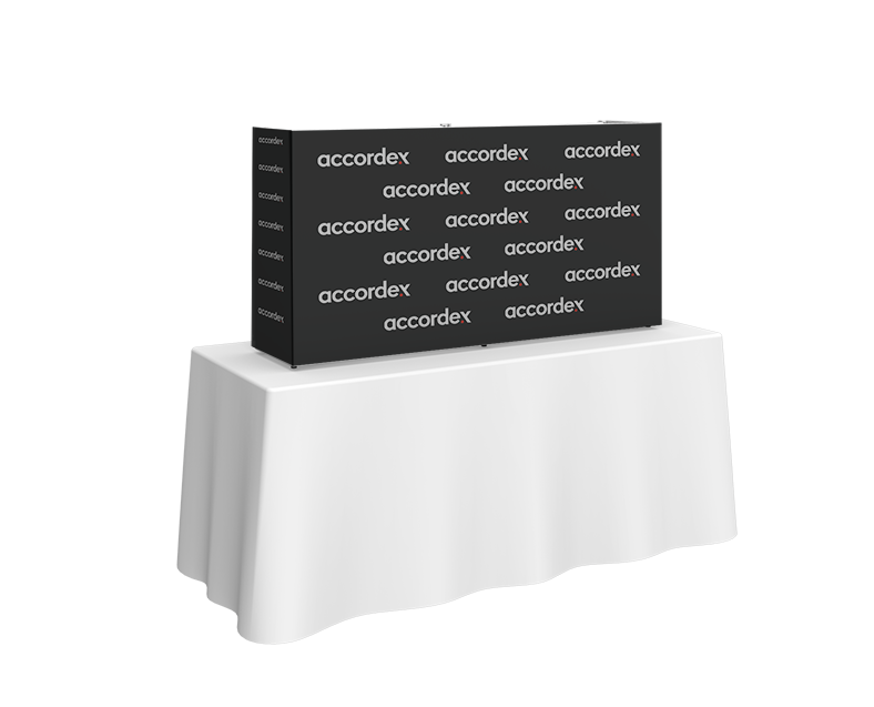 5ft (2 Quad x 1 Quad) features a sleek, collapsible white frame with channel bars that hold push-fit fabric graphics pop up wall display