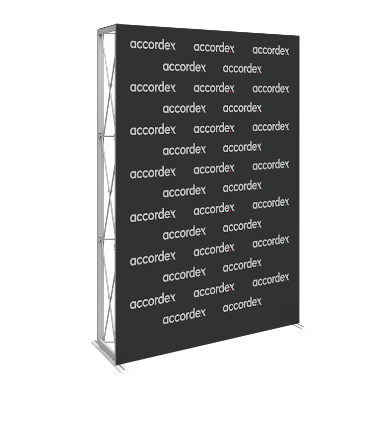 10ft full height features a sleek, collapsible anodized silver frame with channel bars that hold push-fit fabric graphic pop up wall display panels