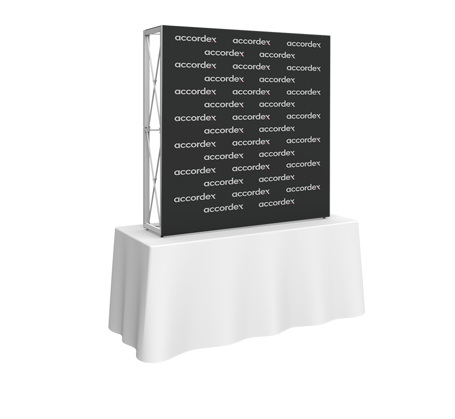 Embrace 5ft tabletop (2 Quad x 2 Quad) features a sleek, collapsible white frame with channel bars that hold push-fit fabric graphics offered pop up wall display