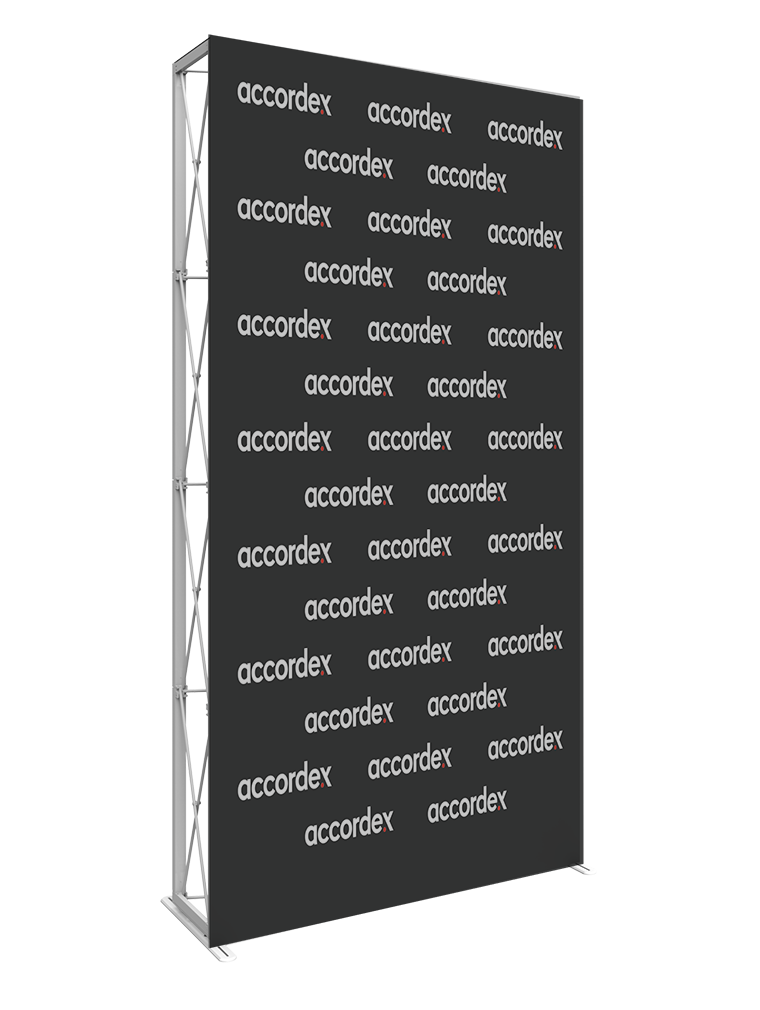 5ft extra tall (2 Quad x 4 Quad) features a sleek, collapsible white frame with channel bars that hold push-fit fabric graphics pop up wall.