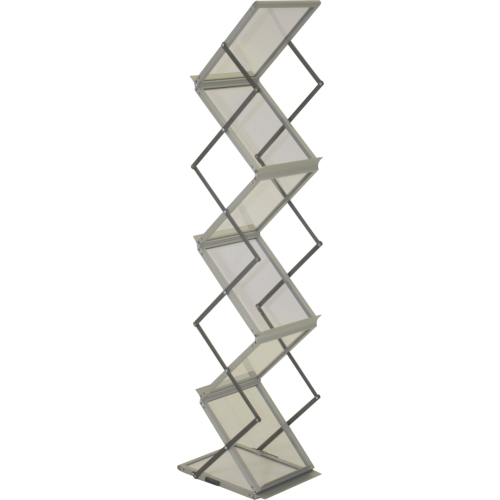 Accordion Brochure Holder is a popular collapsible, acrylic literature rack with four pockets to hold printed literature that is stylish and highly portable