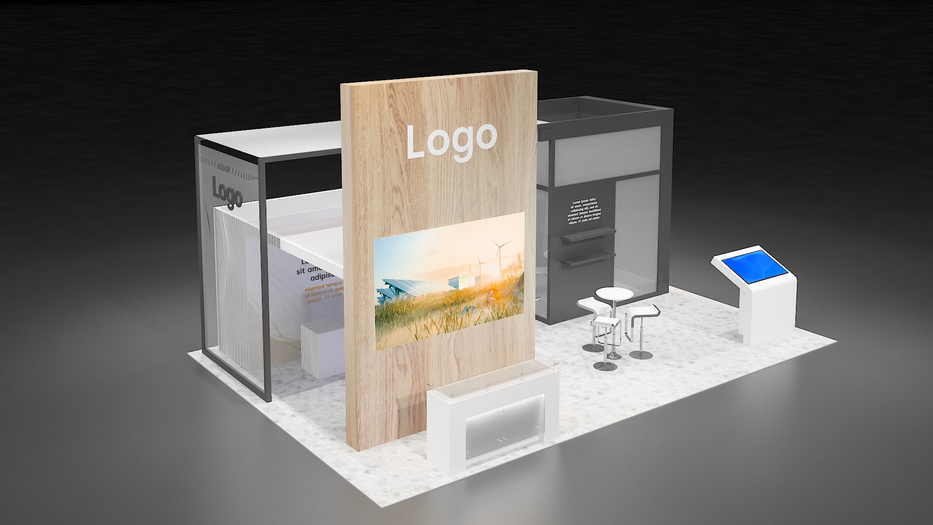 A modern rental exhibit booth from accordex