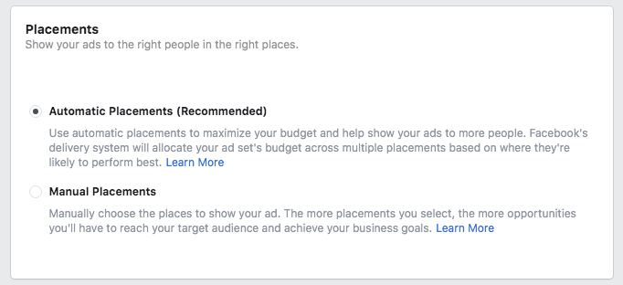 FB Lead Ads placement