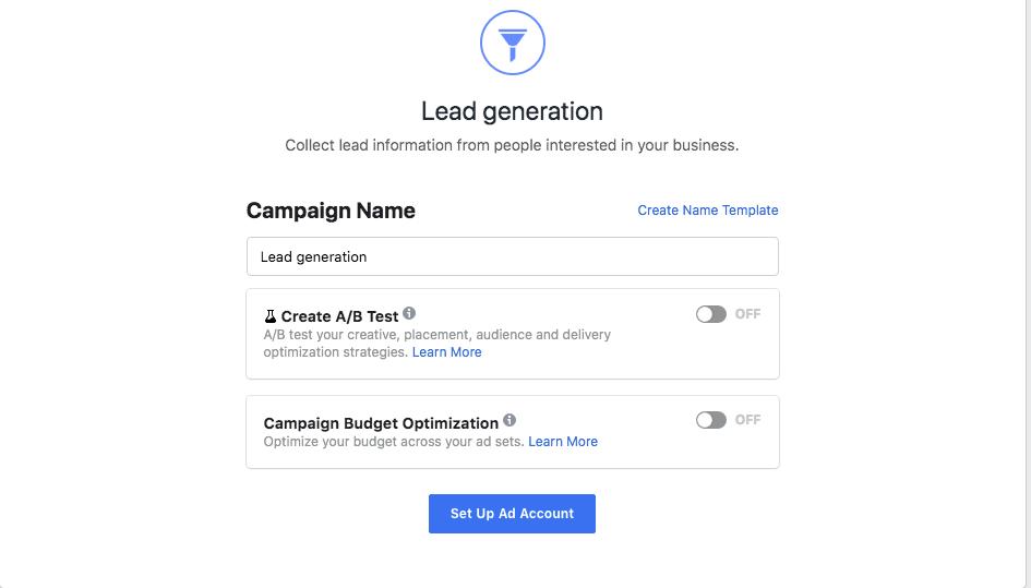 FB Lead Generation set up ad account