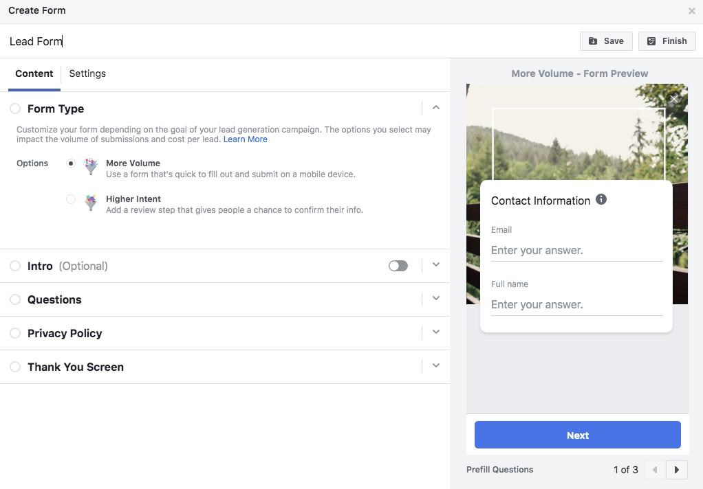 FB Lead Ads lead form