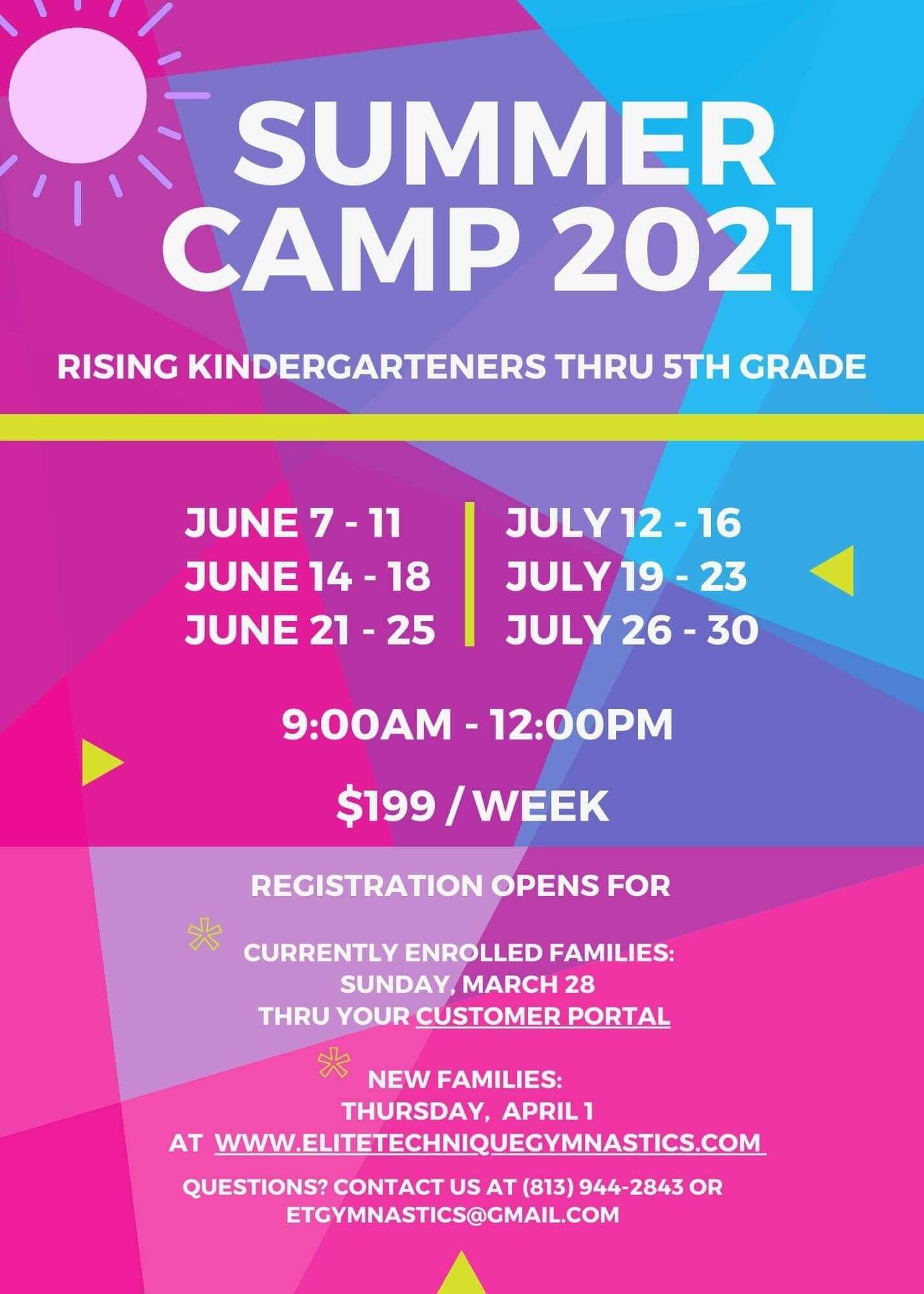 Summer camps for kindergarteners thru fifth grade 