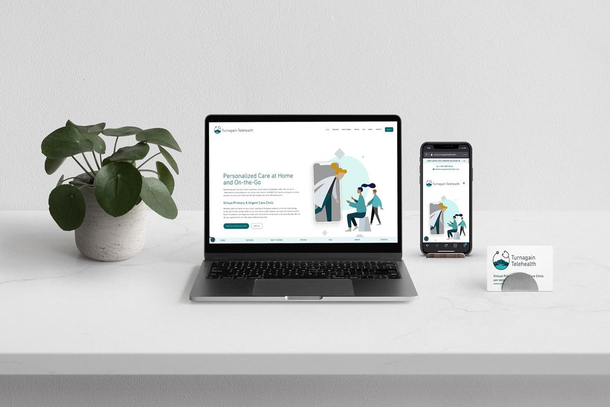 Turnagain Telehealth Laptop Mobile web desk scene