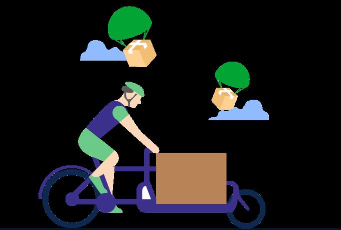 Personne livrant en vélo-cargo