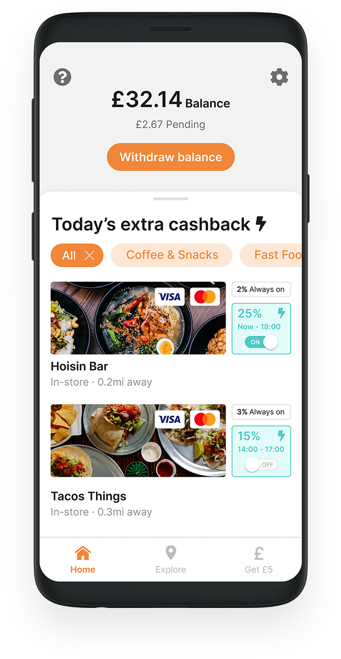 Mobile phone showing the Swipii app home page with £32.14 cashback and listings for Hoisin Bar and Tacos Things