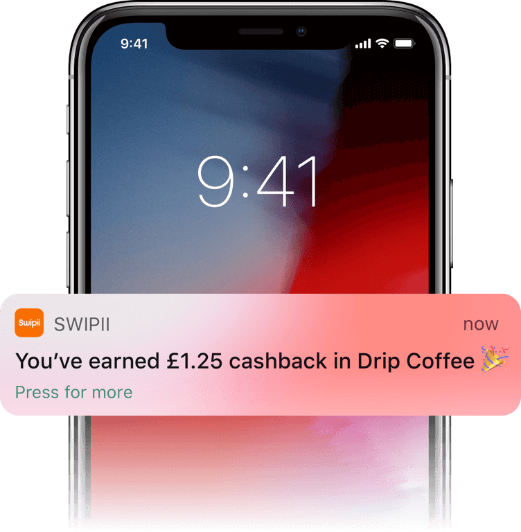 """Swipii push notification that says """"You've earned £1.25 cashback in Drip Coffee"""""""