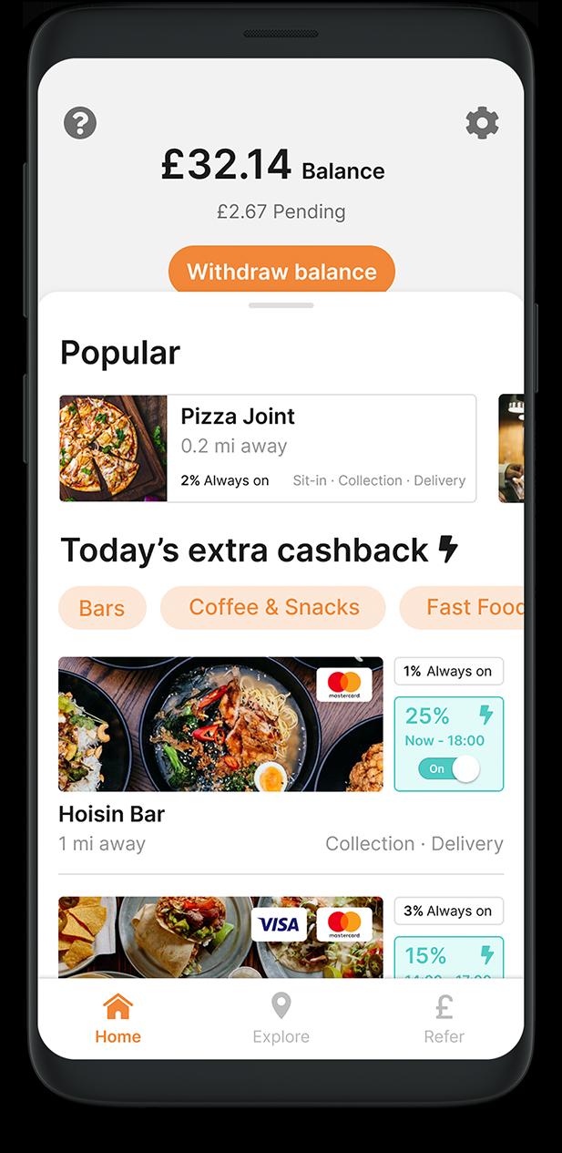 Mobile phone displaying the Swipii cashback app interface