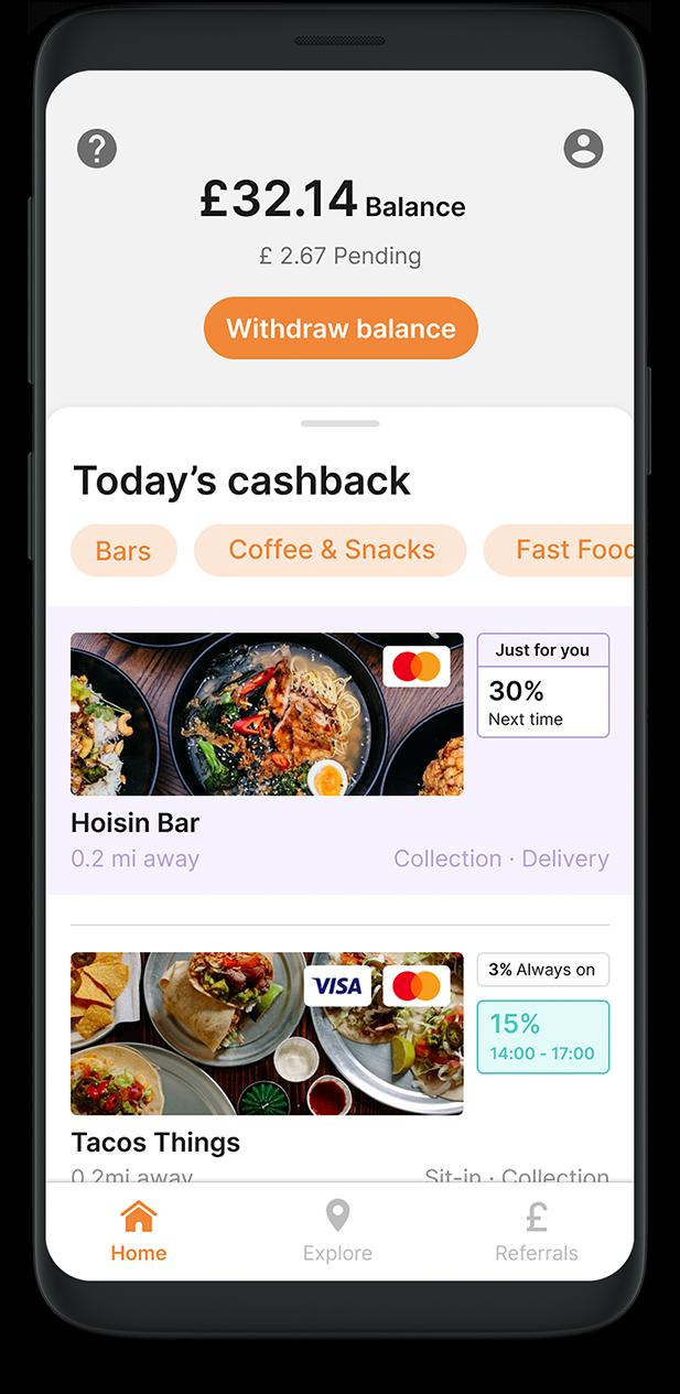 cashback rewards app screen