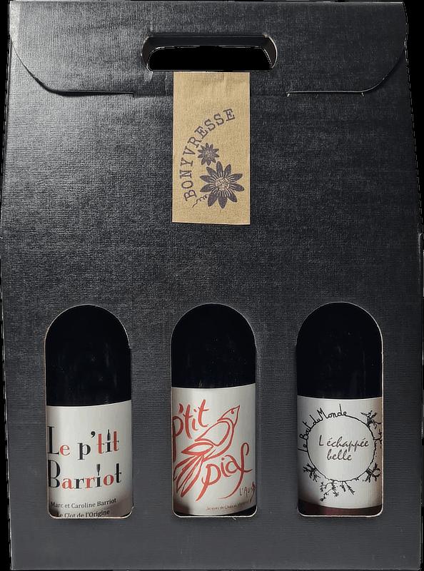 Coffret de 3 bouteilles de vins rouges naturels du roussillon