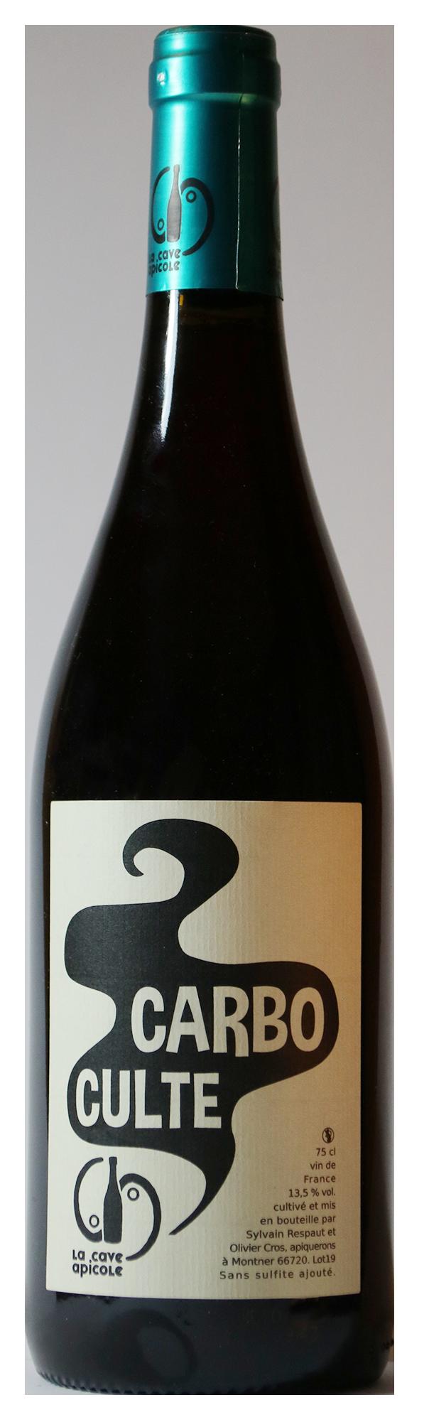 Bouteille de vin rouge naturel, cuvée Carbo Culte 2019 Domaine la Cave Apicole