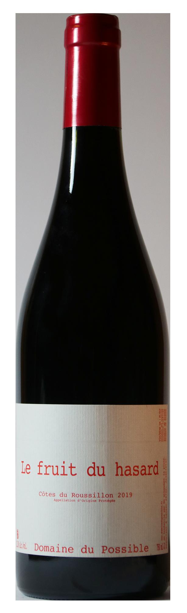 Bouteille de vin rouge naturel, cuvée Le Fruit du Hasard 2019 Domaine du Possible