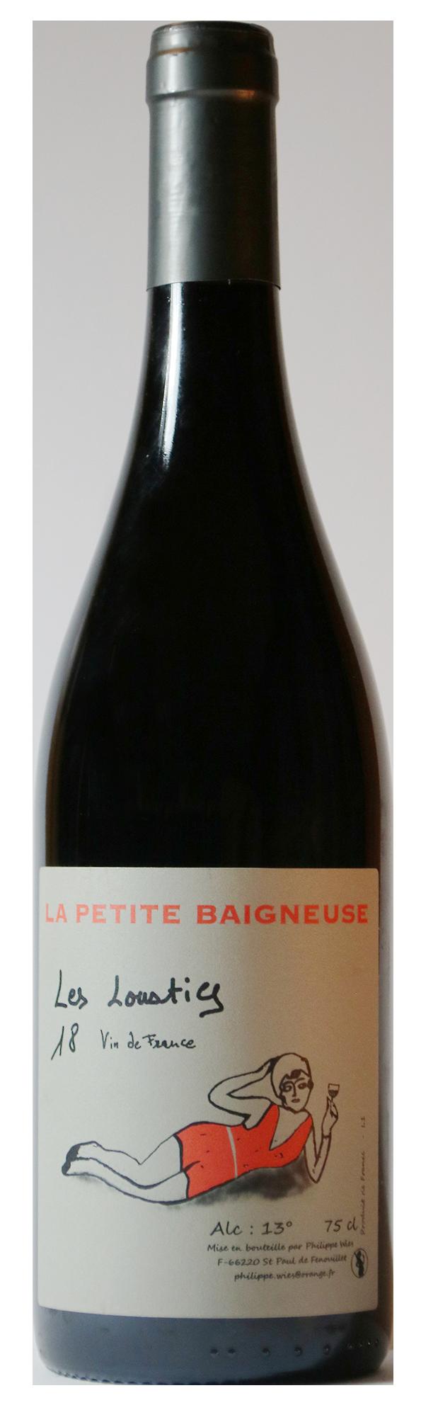 Bouteille de vin rouge naturel, cuvée Les Loustics 2018 Domaine La Petite Baigneuse
