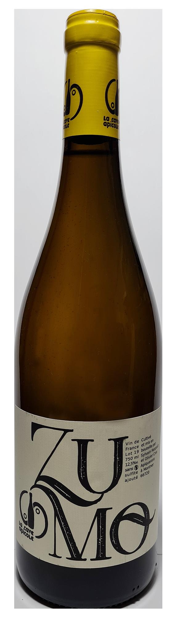 Bouteille de vin blanc naturel, Zumo 2019 Domaine la Cave Apicole
