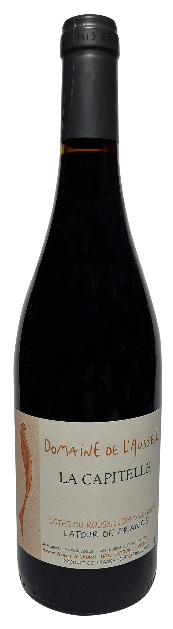Bouteille de vin rouge naturel, La Capitelle 2015, Domaine de L'Ausseil