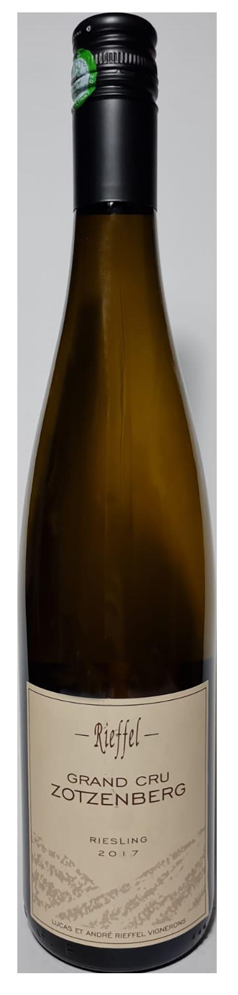 Bouteille de vin blanc naturel, Riesling Grand Cru Zotzenberg 2017 Domaine Rieffel