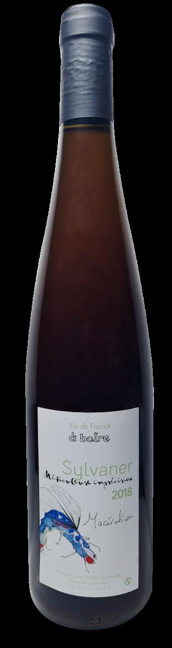 Bouteille de vin blanc de macération naturel d'Alsace, domaine A boire, cuvée Méticuleuse imprécision en macération