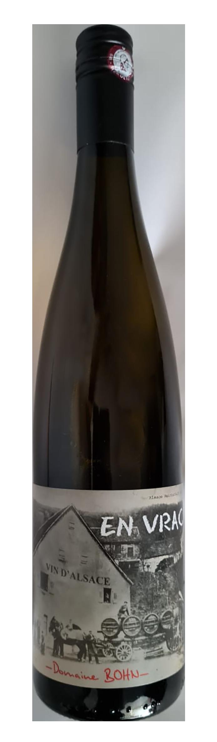 Bouteille de vin blanc d'assemblage d'Alsace, nom de cuvée : En vrac, domaine Bohn