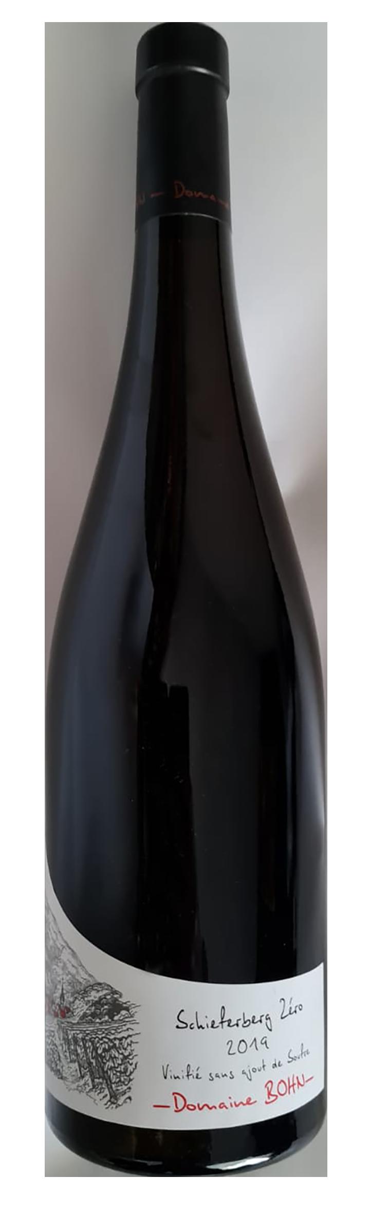 bouteille de vin blanc de macération naturel alsacien, domaine Bohn, cuvée Schieferberg Zéro 2019