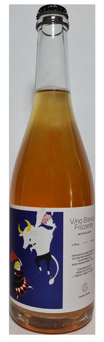 bouteille de vin effervescent naturel italien, domaine cantina giardino, cuvée Bianco frizzante metodo olympia 2019