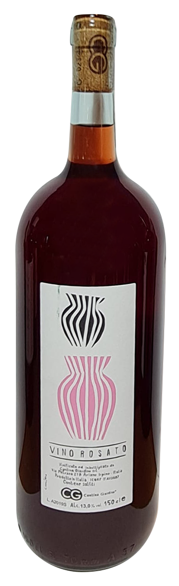bouteille de magnum rosé naturel italien, domaine cantina giardino, cuvée magnum rosato anfora 2019