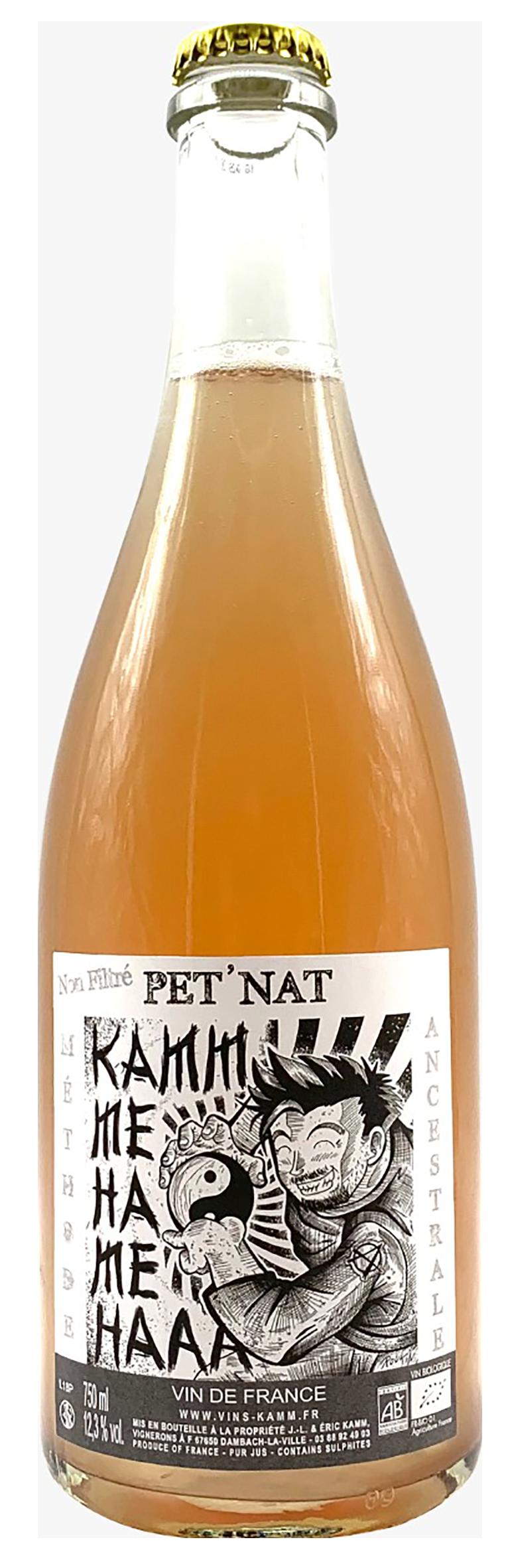 bouteille de pétillant naturel alsacien rosé 2, domaine kamm 2019