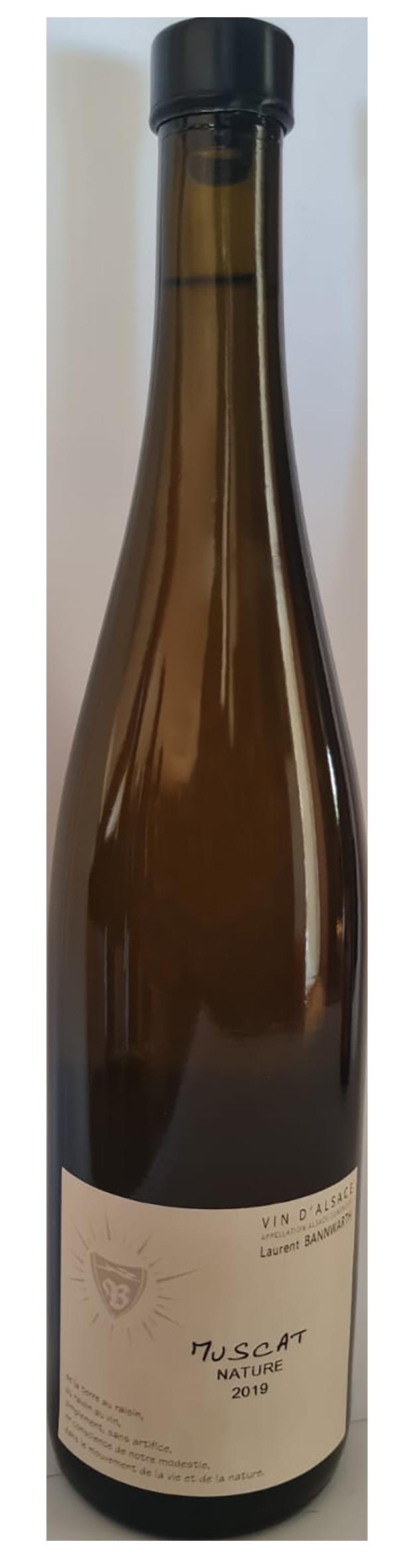 bouteille de vin blanc naturel d'Alsace, domaine Bannwharth, cuvée Muscat Nature 2019