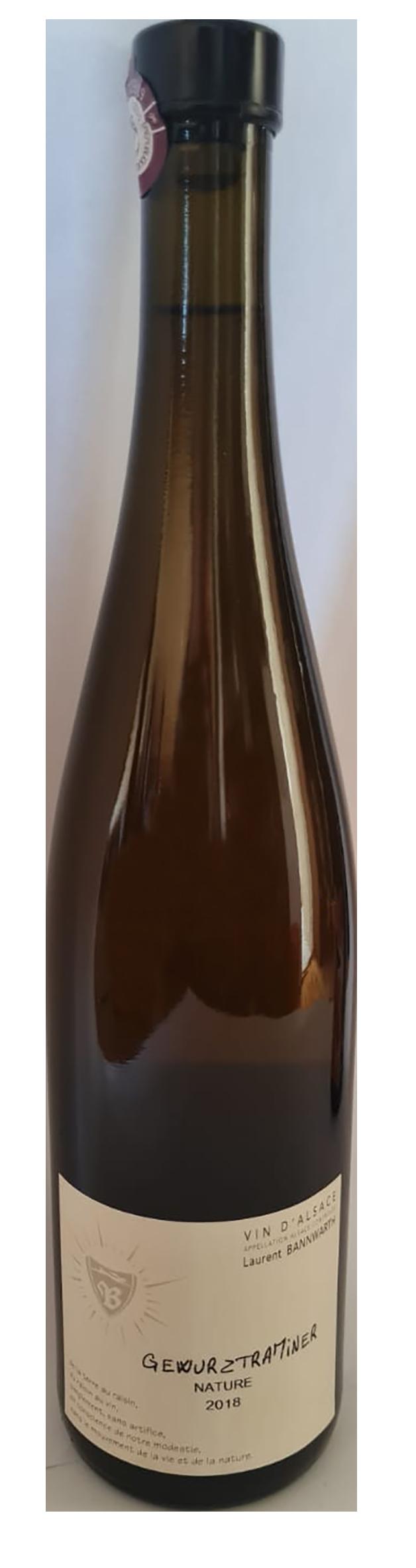 Bouteille de vin blanc naturel d'Alsace, domaine Bannwarth, cuvée Gewurztraminer nature 2018