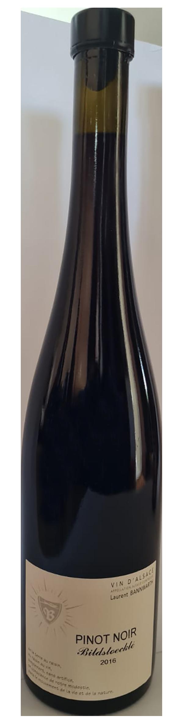 bouteille de vin rouge naturel alsacien, domaine Bannwarth, vin de terroir calcaire, cuvée Pinot Noir lieu-dit Bildstoeklé 2016