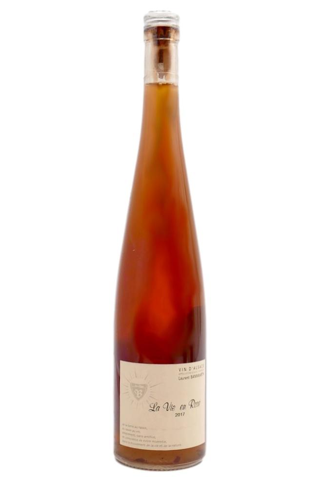 bouteille de vin blanc de macération naturel, cépage Gewurztraminer en macération sur peaux de 15 jours, domaine Bannwarth, cuvée La vie en rose 2017