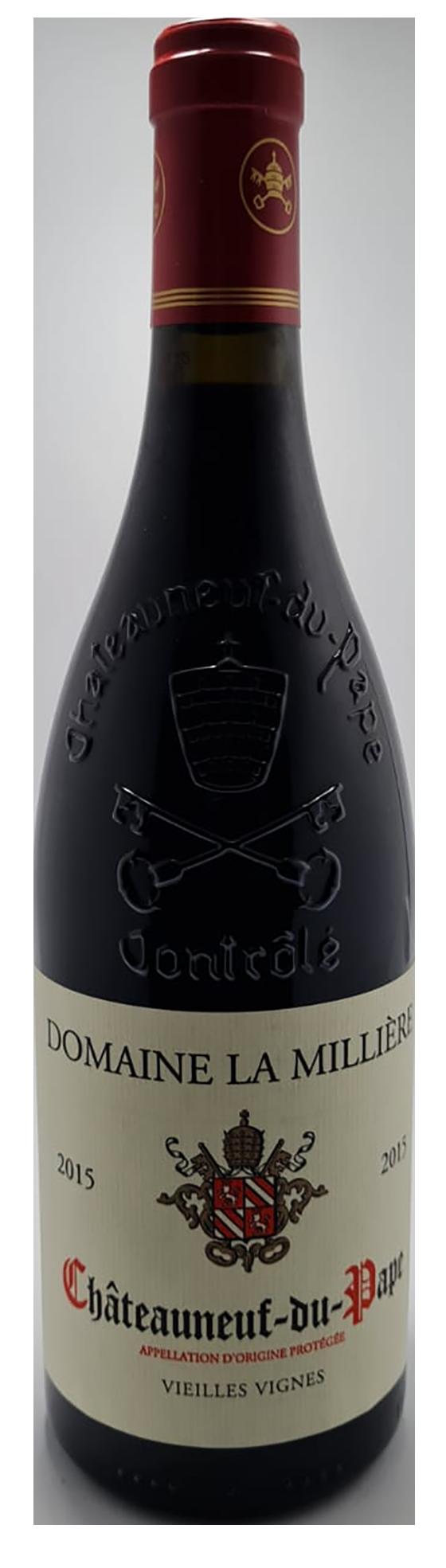 bouteille de vin rouge bio, appellation château-neuf-du-pape rouge 2015, domaine la Millière