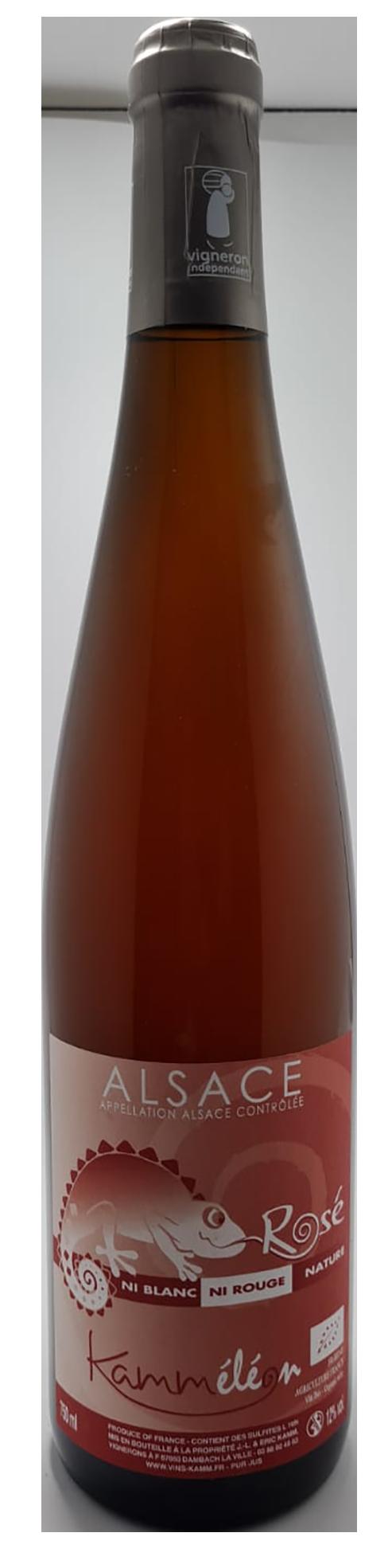 bouteille de vin rosé naturel d'alsace, domaine Kamm, cuvée kammeleon