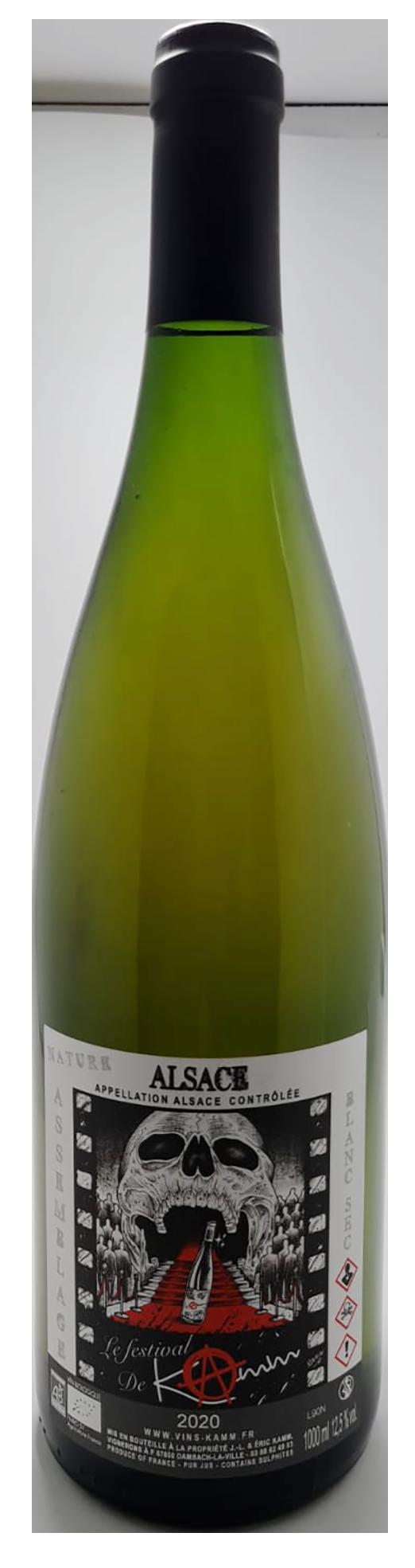 bouteille de vin d'alsace naturel blanc en litre, cuvée festival de kamm, domaine Kamm