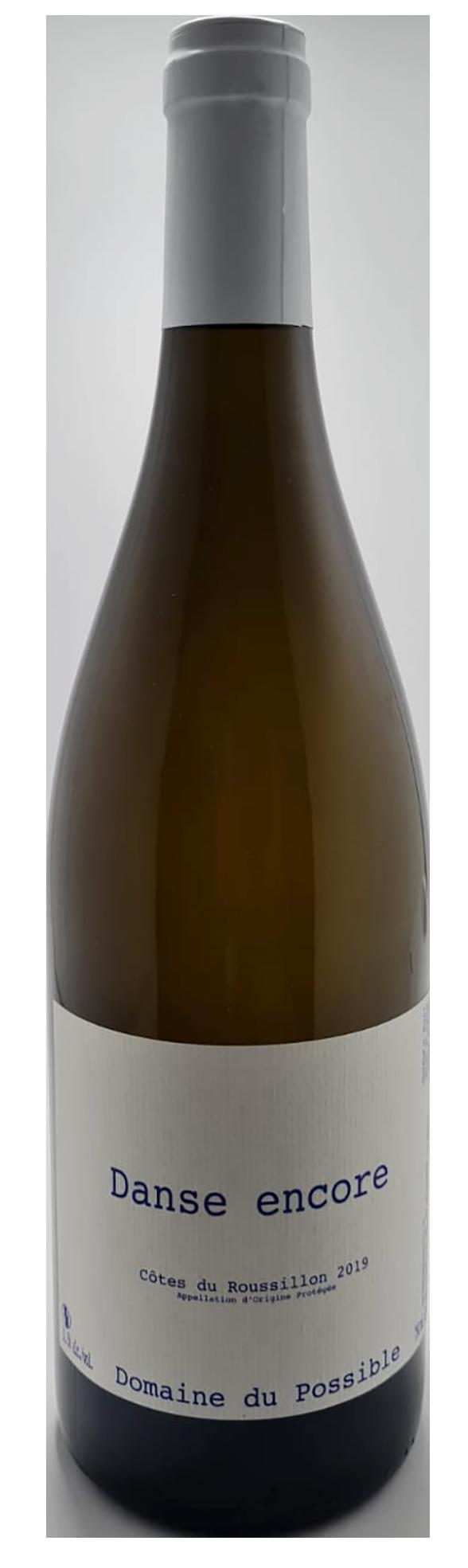 bouteille de vin blanc naturel du roussillon, cuvée danse encore 2019, producteur en attendant la pluie
