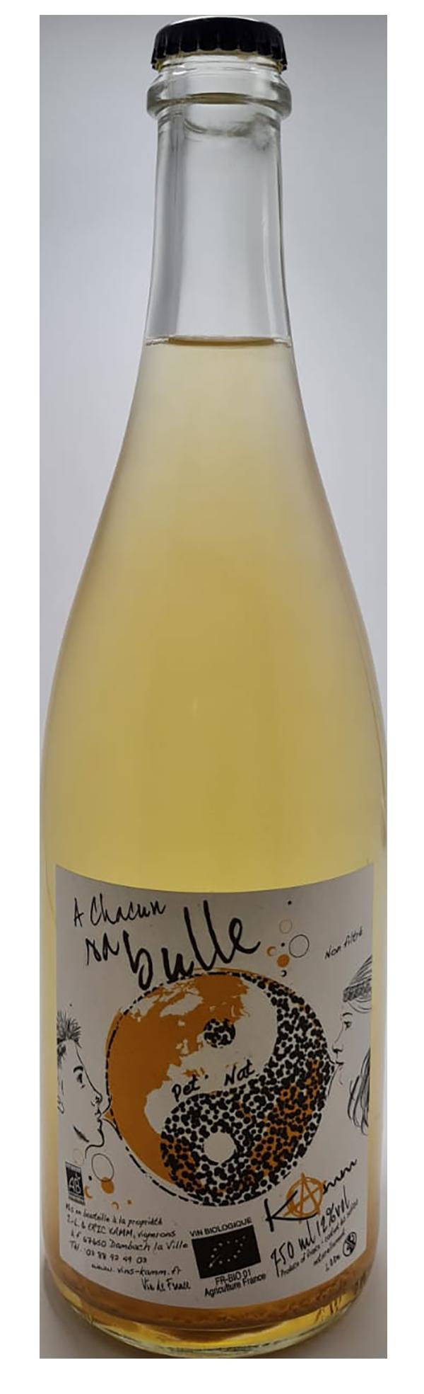 bouteille de pétillant naturel blanc, domaine kamm, cuvée à chacun sa bulle