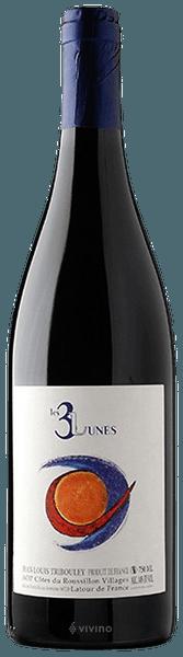 bouteille de vin rouge naturel du roussillon, cuvée les 3 lunes 2019, domaine Jean-Louis Tribouley