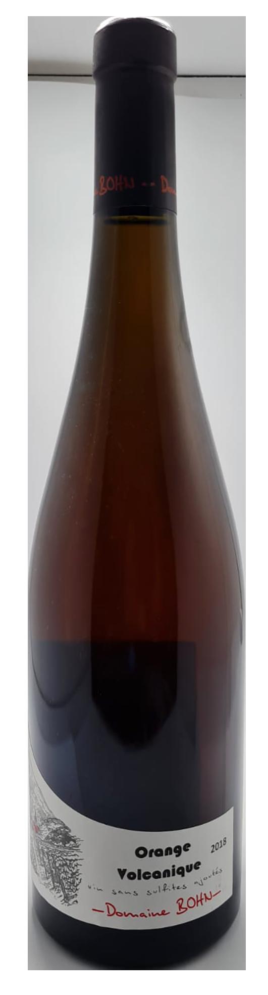 bouteille de vin blanc naturel de macération, assemblage de 4 cépages, cuvée Orange volcanique 2018, domaine Bohn, Alsace