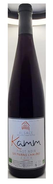 bouteille de pinot noir nature d'Alsace, domaine Kamm, cuvée les pierres chaudes 2019