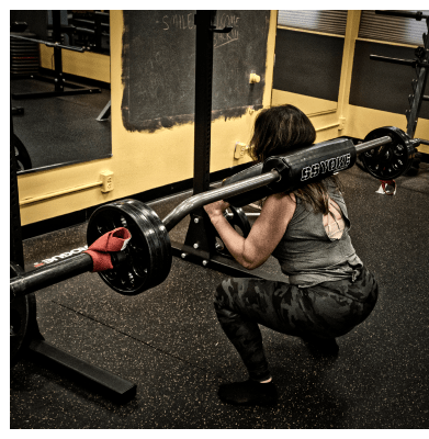 Sandra performing a safety bar squat at UTG Personal Training | Bergen County NJ